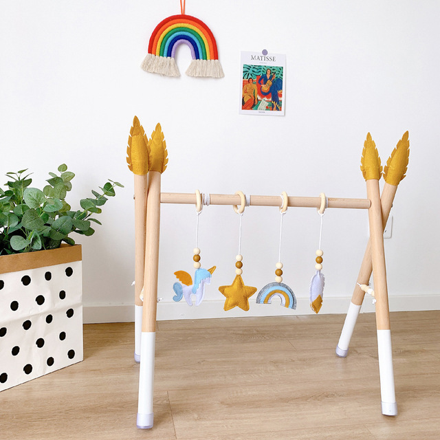 ​Nordic Wooden Baby Activity Gym Play Nursery Sensory Ring-pull Toy Fitness Frame Room Decor Clothes Rack Toy for Children