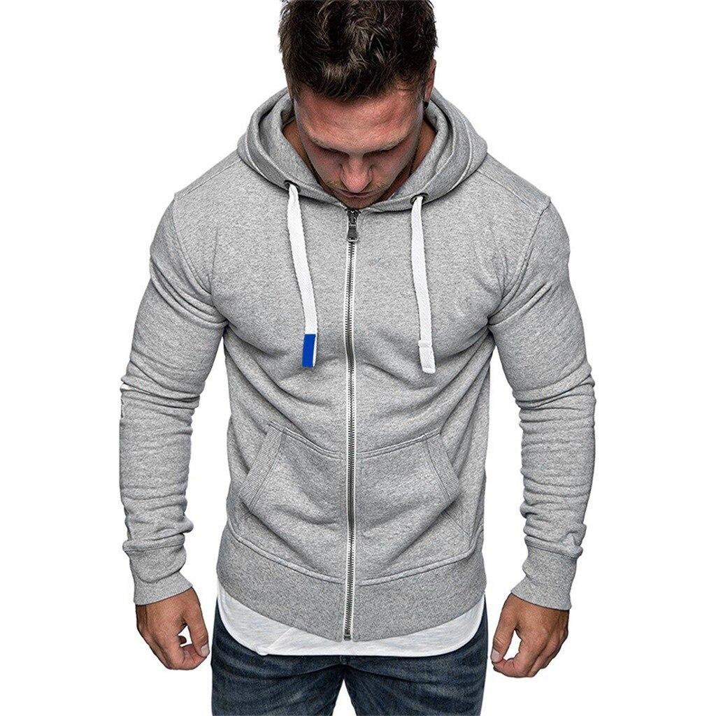 Plus Size Men s Mens Hoodies Tracksuit 2019 Autumn Winter Pure Color Zipper Drawstring Long Sleeve