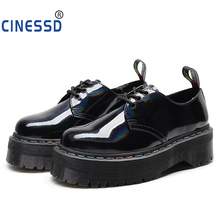 CINESSD Customize Thick Bottom Martin Shoes Women Genuine Leather Round Head Leisure Muffin Beef Tendon Booties