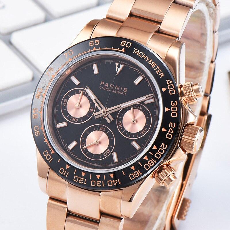 Парнис 39 мм черный циферблат кварцевый хронограф Для мужчин часы Нержавеющаясталь браслет из сапфирового стекла Для мужчин часы 2019 zegarki
