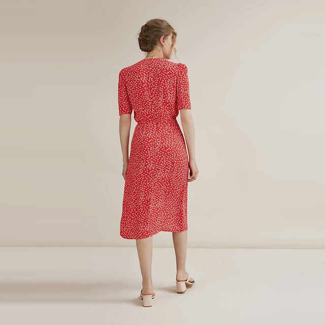 Vintage Rouje Gabin Dress With Sashes V Neck 4