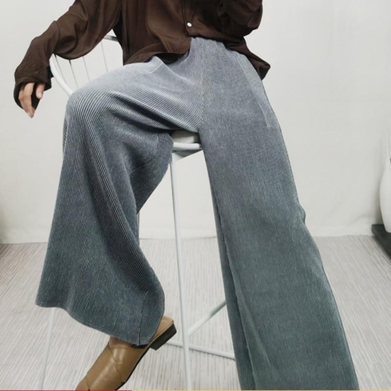 LANMREM 2020 New Spring Solid Color High Waist Pleated Pants Women Vintage Wild Loose Elastic Wide Leg Trouser Tide PD798