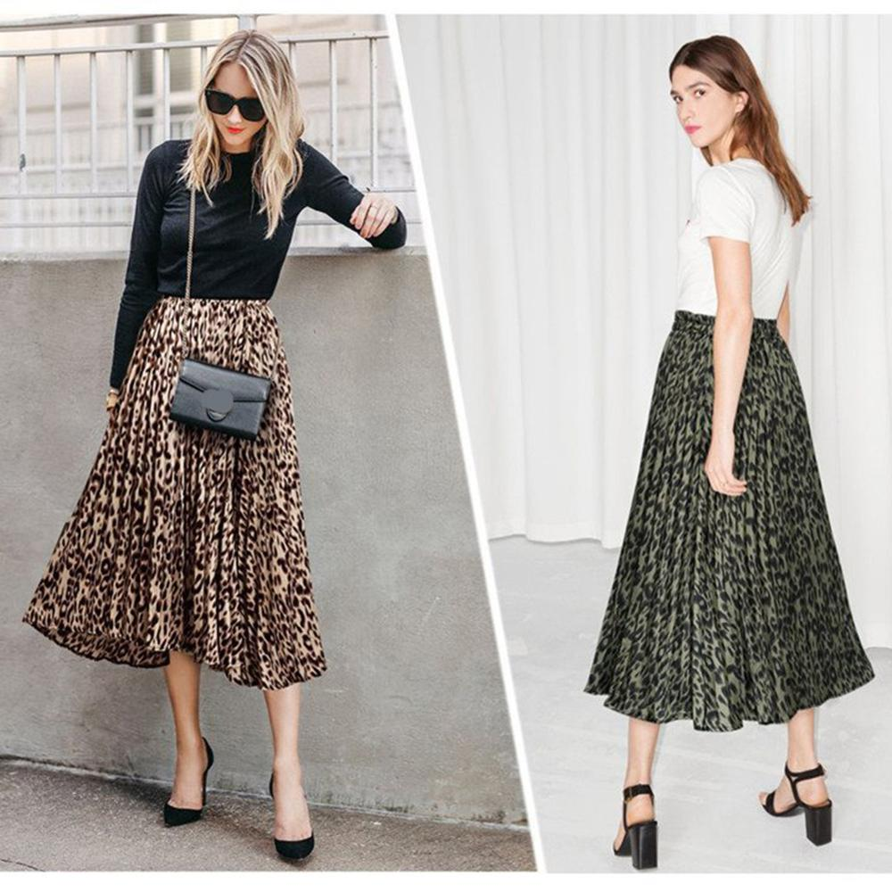 Free Ship Best Quality Women Fashion Leopard Printing A-Line Long Pleated Casual Skirt Wholse Sell