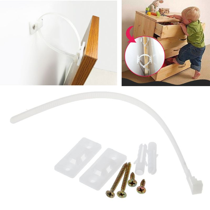 Child Furniture Restrictor Security Lock Anchors Anti Tip Earthquake Resistant Straps Child Safety Secure Baby Protection Kit