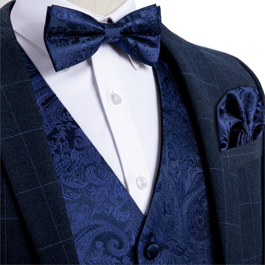 Men's Navy Blue Paisley Silk Wedding Waistcoat Vest For Men Bowtie Hanky Cufflinks Cravat Set For Suit Tuxedo DiBanGu MJ-120