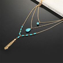 Bohemian women's necklace retro style multi-layer hanging necklace exquisite stone tassel sweater chain jewelry цена 2017