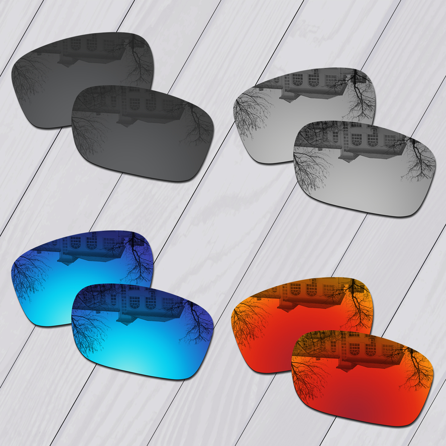 E.O.S 4 Pairs Black & Silver & Ice Blue & Fire Red Polarized Replacement Lenses for Oakley Mainlink Sunglasses