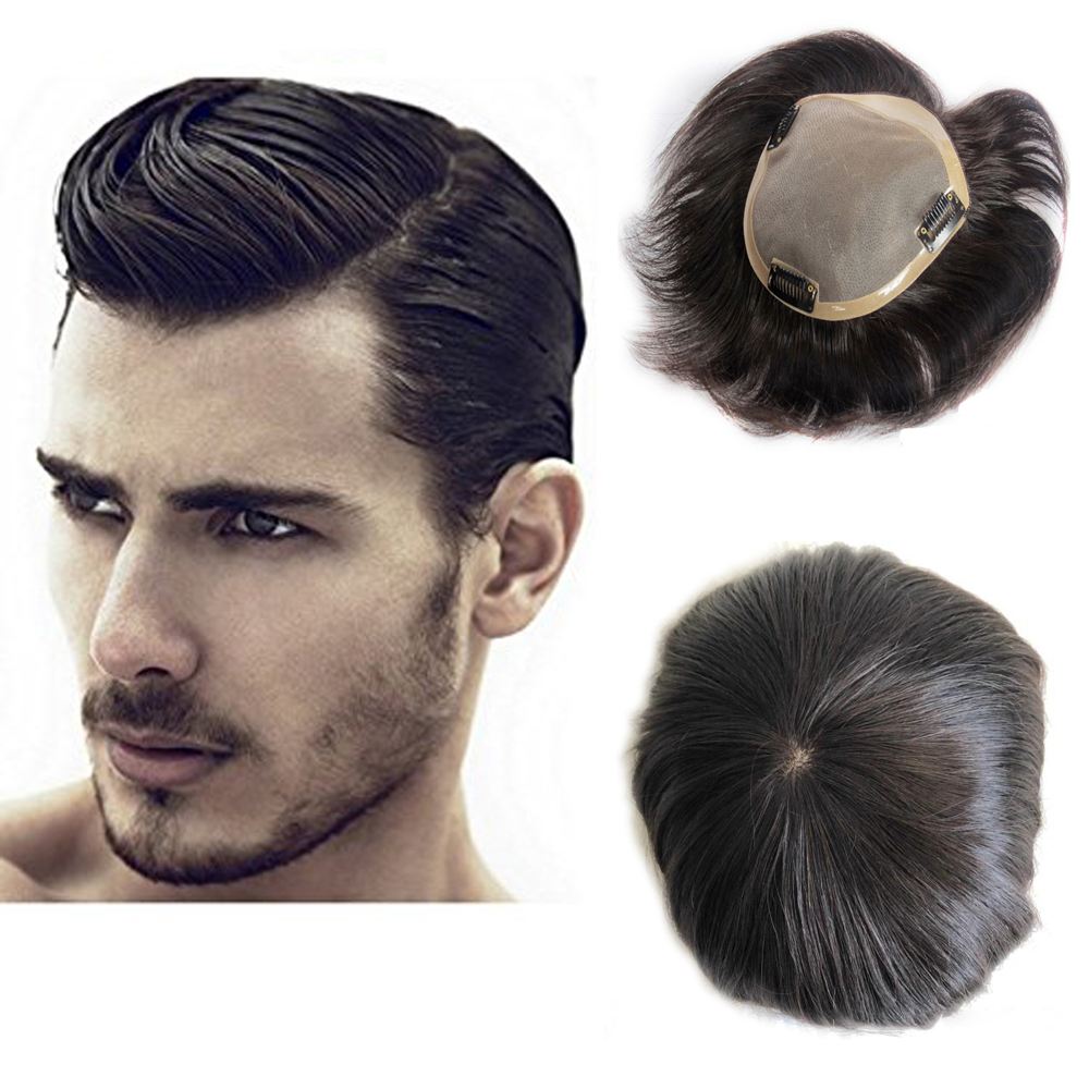 BYMC Lace With NPU Human Hair Toupee Replacement System Natural Straight With Clips Human Hair Toupee For Men