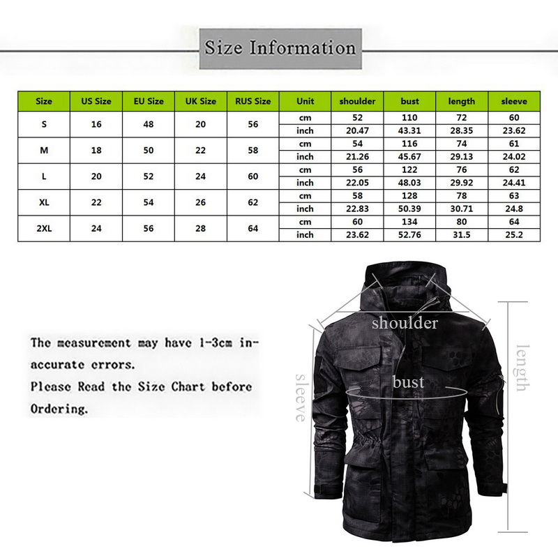 Soft Outdoor Camouflage Thermal Hunt Jackets Size Information