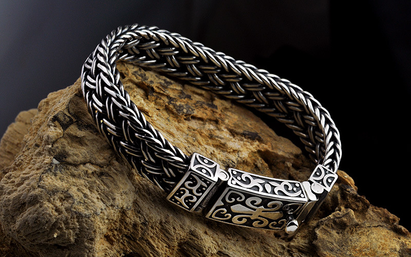 925 Sterling silver Color Men Bracelet Wide 11mm Retro Punk Rock Wire-cable Link Chain Bracelet Thai Silver Jewelry