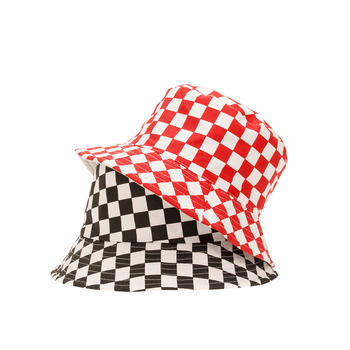 Grid hat Fishermans Hat Summer outdoor beach sun cool check double-faced art woman