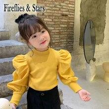 Girls Sweater Puff-Sleeve-Patch Spring Baby Knitwear Streetwear Kids Fashion Children