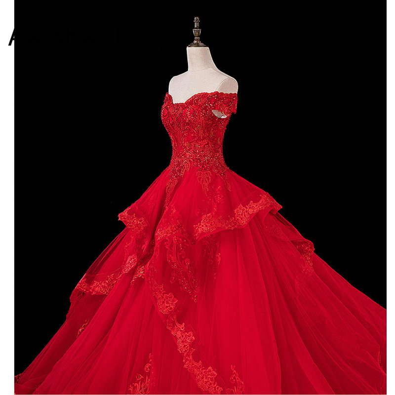 2020 Red Evening Dress Off The Shoulder Beadings Appliqued Floor Length Tulle Long Prom Dresses with Long Train
