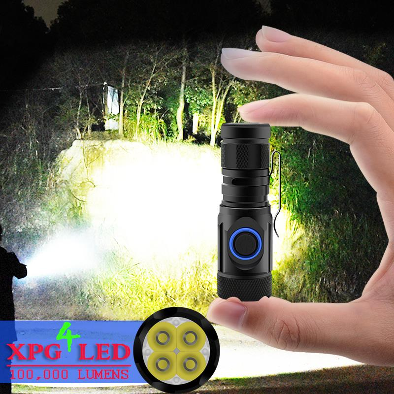 Brightest Mini Torch Most Powerful Led Mini Flashlight Usb 18650 Or 18350 Rechargeable 4*XPG LED IPX6 Waterproof Tactical Torch