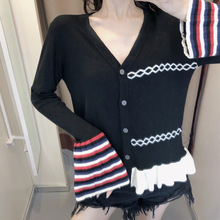 New Sweaters In Early Autumn of 2019 Retro Style Westernized Knitted Cardigans V-Neck black Women