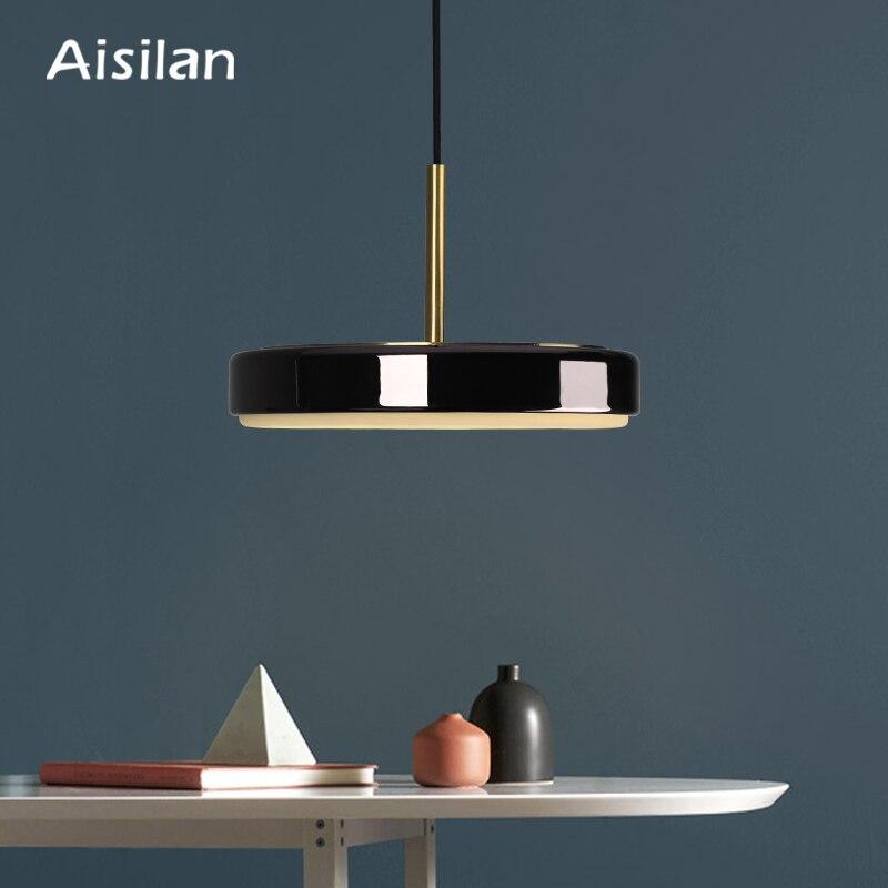 Aislan Nordic Led Black Pendant Lights For Kitchen Dining Room Lustre Pendente Hanging Ceiling Lamp
