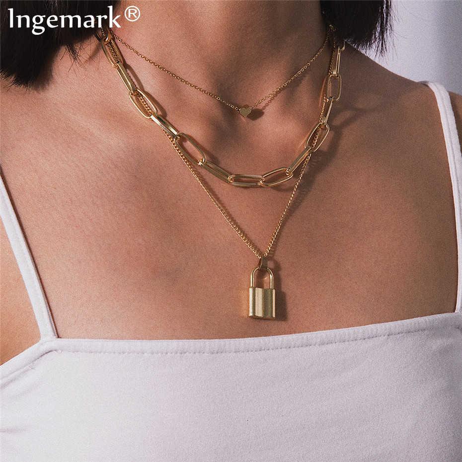 Ingemark MULTI LAYER Lover ล็อคจี้ Choker สร้อยคอ Steampunk กุญแจหัวใจสร้อยคอ Collier ที่ดีที่สุดคู่ของขวัญเครื่องประดับ