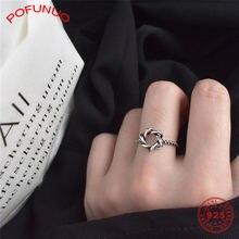 Женское Винтажное кольцо pofunuo 925 пробы Серебряное с шестигранной