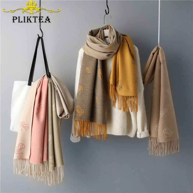 2019 New Heart Letter Print Women's Winter Scarves Wrap High Quality Cashmere Female Tippet Scarf Shawl Women Red Pashmina Stole