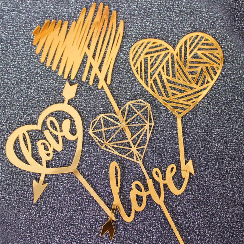 """""""Amor"""" corazón acrílico pastel de cumpleaños oro plata corazón colección pastel decoración herramienta para el hogar fiesta de cumpleaños Regalos encantadores suministros"""