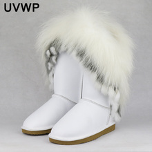 Snow-Boots Real-Cow-Leather Natural Women Non-Slip-Shoes Winter New-Fashion Tassels Fox-Fur