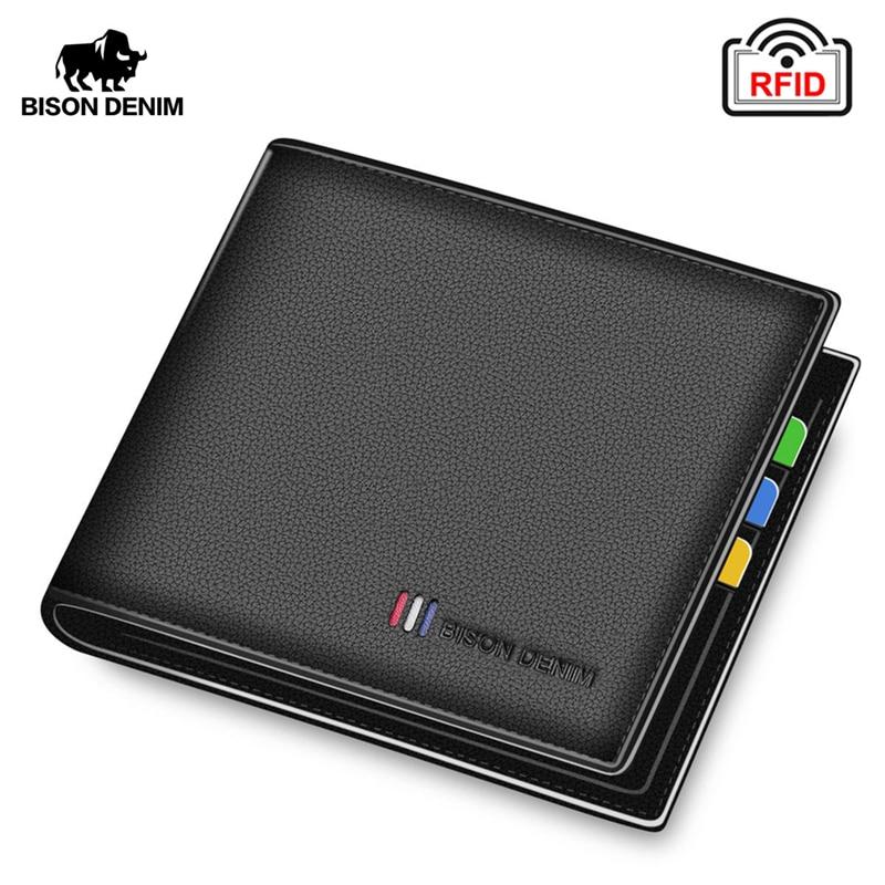 BISON DENIM 100% Cow Leather Wallet Men Fashion Bifold Card Holder Wallet RFID Blocking Male Short Purse High Quality N4475