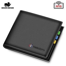 BISON DENIM 100% Cow Leather Wallet Men Fashion Bifold Card