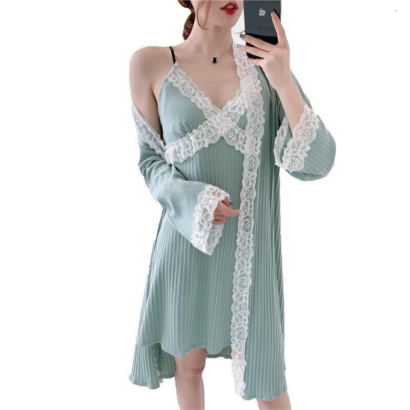 Autumn New Pure Cotton Women Robe Set Lace Sexy With Chest Pad Spaghetti Strap Cardigan Twinset Bathrobe