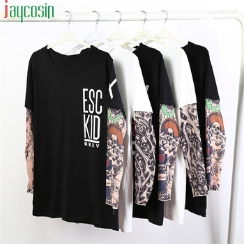 Men Long Sleeve Casual T-Shirt Cotton Loose Patchwork Tattoo Print Fashion O-Lead Letter Tees Plus Size Streetwear Men T-Shirt long sleeve plus size palm print asymmetrical t shirt