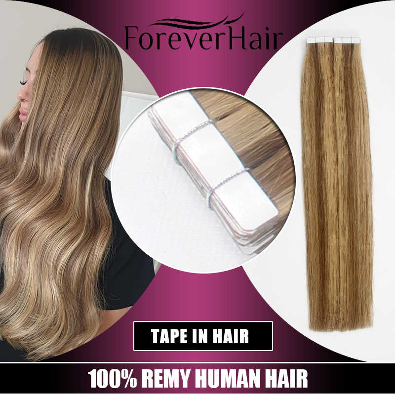 "FOREVER HAIR 2.0g/pc 16"" 18"" 20"" Tape In Natural Human Hair Extensions Ash Blonde European Skin Weft Remy Hair Extension 40g/pac"