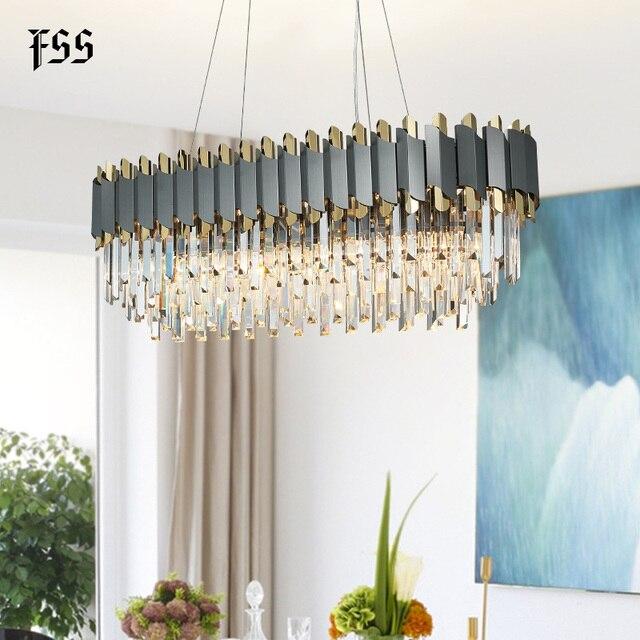 FSS nowa nowoczesna kryształowa chromowana prostokątna żyrandol do jadalni sypialnia okrągłe żyrandole oświetlenie do salonu oprawy
