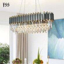 Fss nova moderna de cristal cromo retângulo lustre iluminação para sala jantar quarto redonda lustres sala estar luminárias