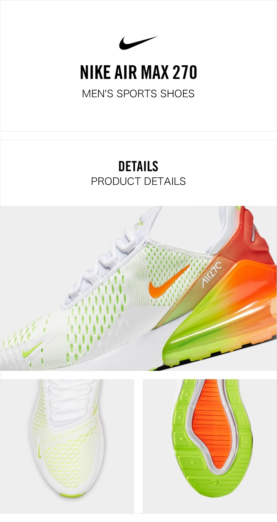 US $75.6 60% OFF|Original Authentic Nike Air Max 270 Men's Running Shoes Outdoor Sports Shoes Designer Shoes Fashion New Listing CN7077 181 on