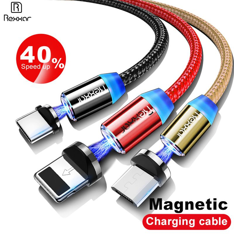 Rexxar 1M Magnetic Charge Cable Micro USB Cable For iPhone X 7 XR XS Max Magnet Charger