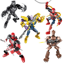 Avengers Building Blocks Action Figures Thanos Spiderman Deadpool Black Panther Marvel Super Heroes Model Bricks Children Toys single sale modok george tarleton from hulk lab smash set building blocks super heroes bricks action toys for children kf918