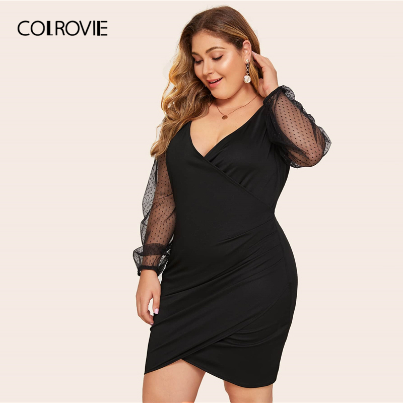 COLROVIE Plus Size Surplice Contrast Mesh Bishop Sleeve Dress Women Black Sexy Mini Dress 2020 V neck Solid Glamorous Dresses 2