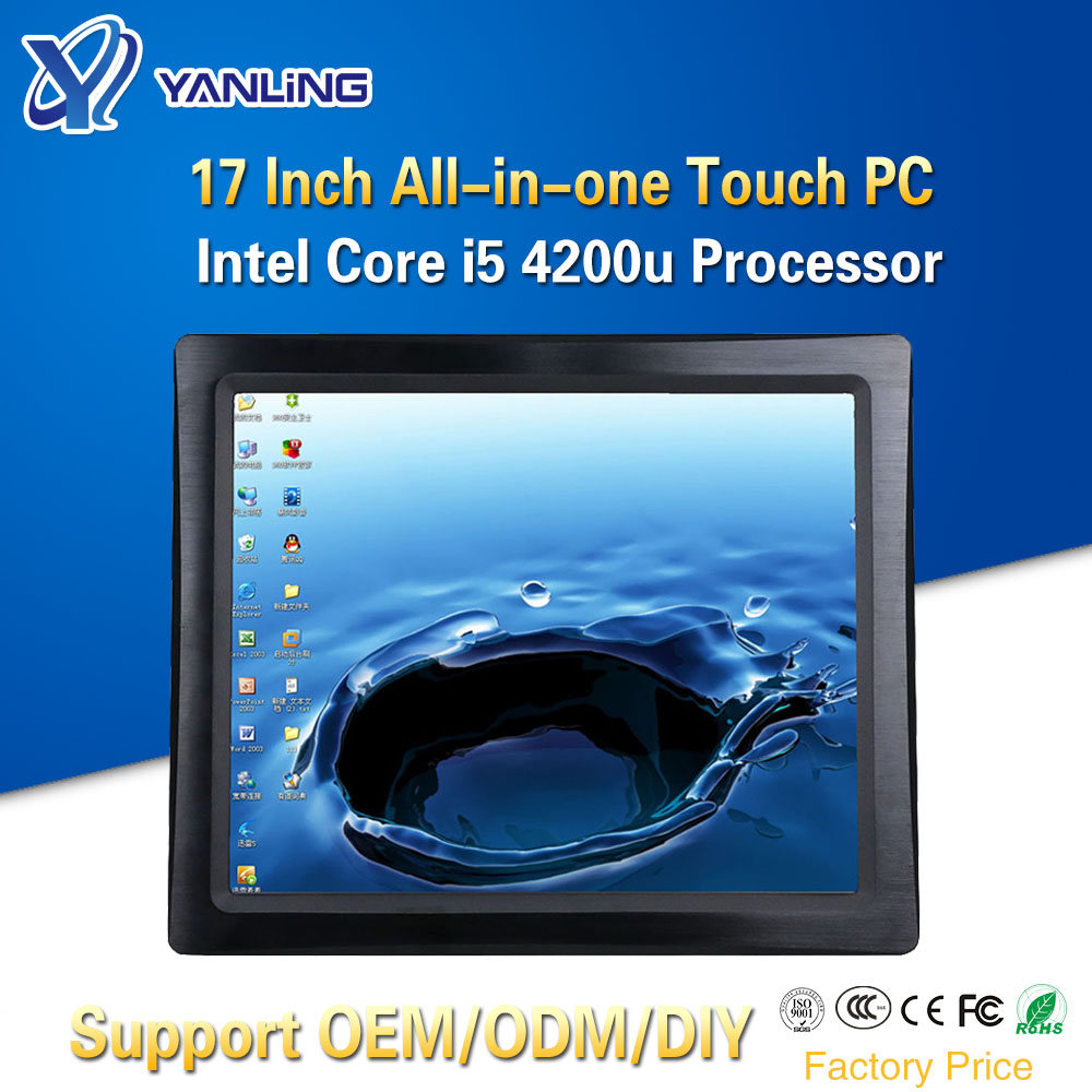 Yanling 17 Inch Wall Mounted All In One Computer Intel I5 4200u Dual Core Resistive Touch Screen Industrial Fanless Panel PCs