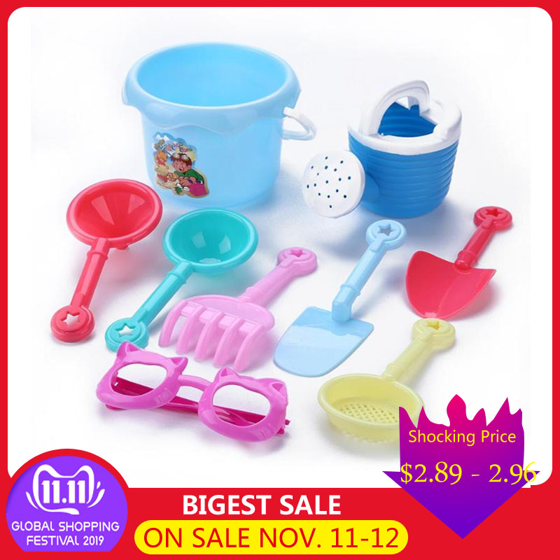 7pcs/set Baby Beach Sand Play Toys Kids Summer Bucket Shovel Pretended Play Toys Outdoor Beach Toys Children Funny Sandy Toys