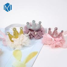 Baby Sequin Tiara Headband Girls High Elasticity Hairbands Sweet Princess Crown Hair Accessories Cute Elastic Head Wrap high elasticity baby sweet hairbands mesh bow knot headband girls lovely princess crown hair accessories cute elastic head wrap