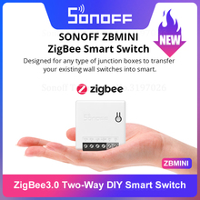 Умный мини-выключатель SONOFF Zigbee 3,0 ZB, двухсторонний, дистанционное управление через eWeLink SmartThings Hub, Голосовое управление через Alexa Google Home