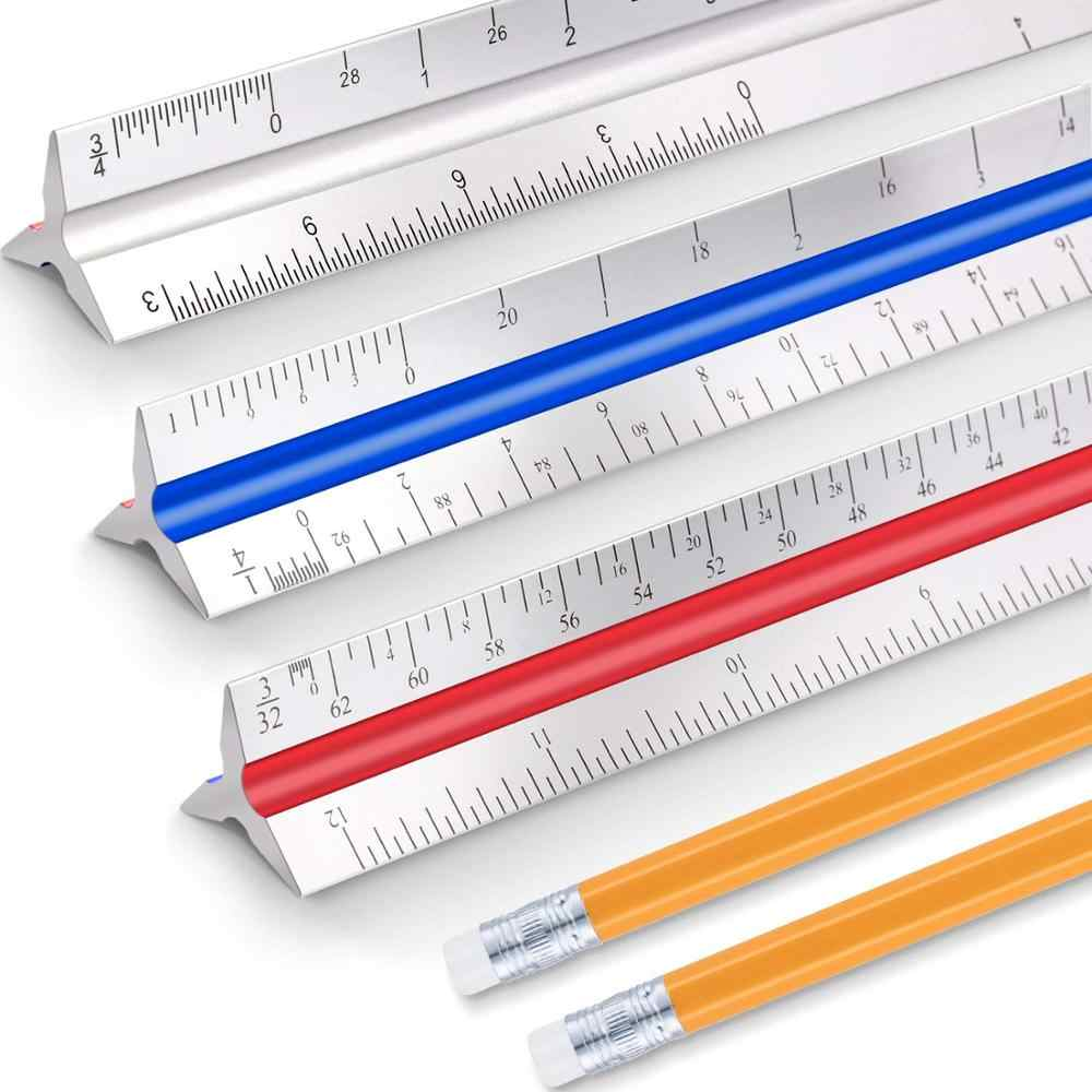 Architecture Metal Scale Ruler House Plan Architecture Ruler Woodworking Ruler Aluminum Alloy Right Angle Gauge for Blueprint Architectural Scale Ruler