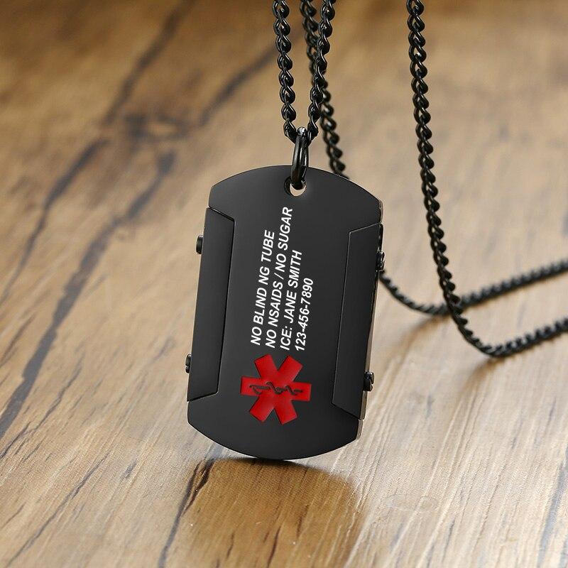 Collar de acero inoxidable personalizado con identificación de alerta médica, con chapa de perro, hombre, Collar grabado gratis