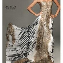 Vestido de noche de tela con estampado de leopardo para mujer, Sexy, largo, brillante, de satén, longitud completa, OL101583, 2019