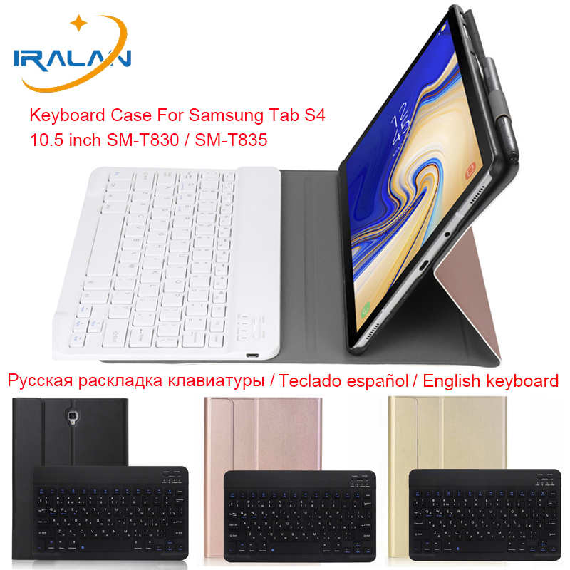 Ultra-thin Flip Stand Cover For Samsung Galaxy <font><b>Tab</b></font> <font><b>S4</b></font> 10.5 T830 T835 SM-T830 SM-T835 Detachable Bluetooth <font><b>Keyboard</b></font> PU Stand Case image