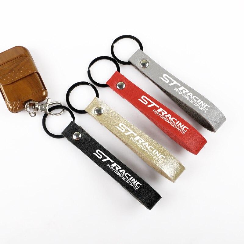 Брелок для автомобильных ключей, кожаный трос для ключей Ford ST, RACING, focus 2, focus 3, Fiesta, EcoSport, эскорт, аксессуары для автомобильных ключей