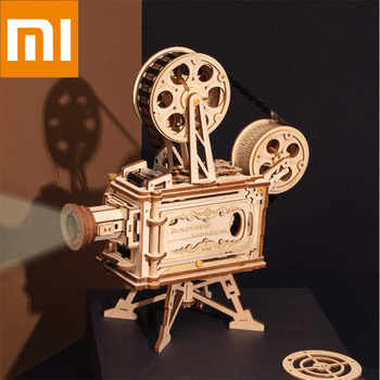 Xiaomi ROKR Vintage manual DIY projector Christmas creative gifts 183pcs 3D Hand Crank Film Projector Wooden Puzzle Assembly