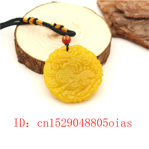 Natural Yellow Hetian Jade Stone Dragon Pendant Necklace Chinese Jadeite Jewelry Charm Qilin Amulet Carved Gifts For Women Men