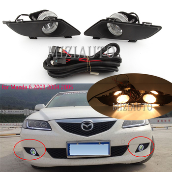 Front Clear Fog Lights Lamp Lens w/Wiring Kits for Mazda 6 2003 2004 2005 Right Left and wire 1 set free shipping fog light set fog lights lamp for toyota yaris hatchback vitz 2006 2008 clear lens pair set wiring kit