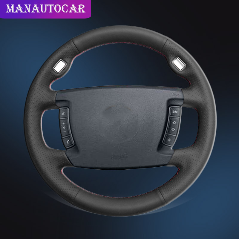 Auto Braid On The Steering Wheel Cover for BMW E65 E66 2001-2008 (4-Spoke) DIY Hand Stitched Interior Car Steering Wheel Covers