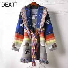 Knitted Sweater Wool-Cardigan Pattern DEAT Women Scarf Full-Sleeve High-Street Tassel